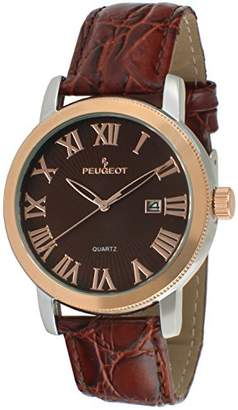Peugeot Men's 'Two-Tone' Quartz Metal and Leather Dress Watch
