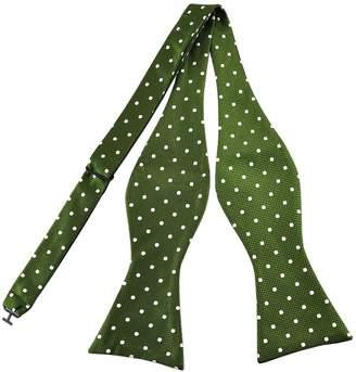 ab05bde485f8 Pense'e Pensee Mens Self Bow Tie Black and White Polka Dot Jacquard Woven  Silk
