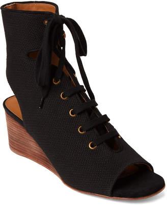 Chloé Black Peep Toe Wedge Booties
