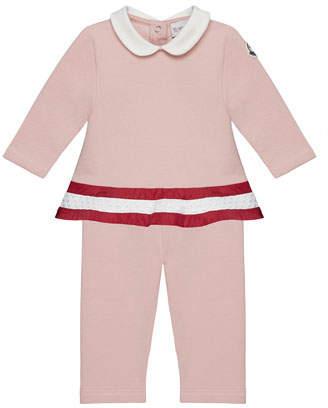 Moncler Long-Sleeve Peplum Top & Pants Set, Light Pink, 12M-3T