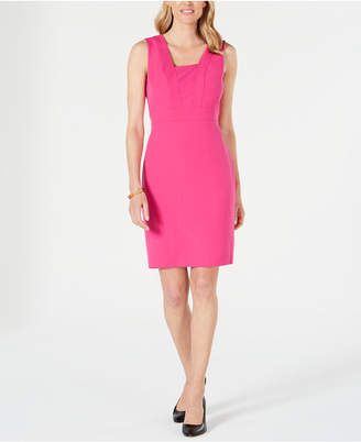 Kasper Square-Collar Stretch-Crepe Dress