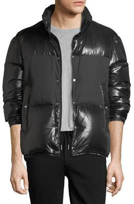Moncler Aynard Shiny Puffer Jacket w/ Matte Center