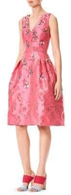 Carolina Herrera Mirror Embroidered Floral Taffeta Dress
