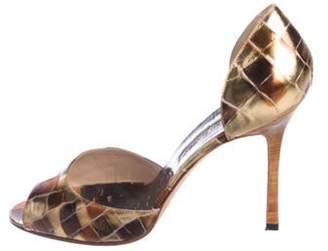 Manolo Blahnik Embossed d'Orsay Sandals Gold Embossed d'Orsay Sandals