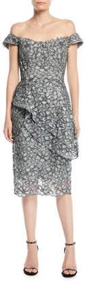 Jovani Off-the-Shoulder Lace Cocktail Dress w/ Peplum Detail