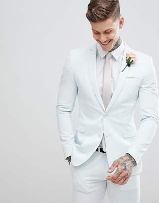 Asos DESIGN wedding super skinny suit jacket in pastel blue