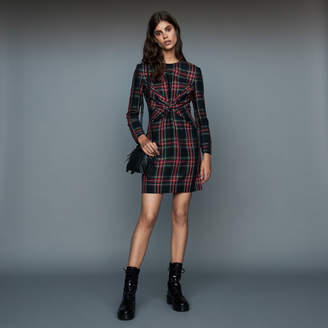 Maje Draped plaid dress