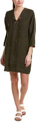 Three Dots Lace-Up Linen Shift Dress