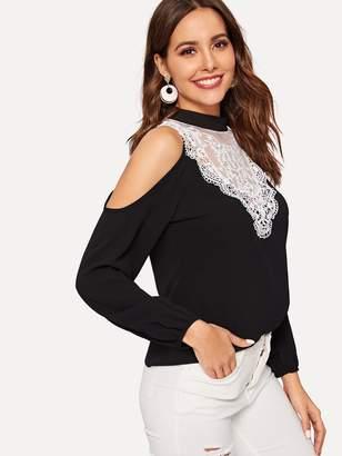 b3ceb5269570c Shein Contrast Lace Open Shoulder Blouse