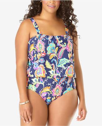 Anne Cole Plus Size Paisley-Print One-Piece Blouson Swimsuit Women Swimsuit