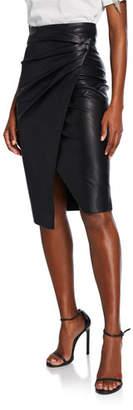 Pinko Faux-Leather Shirred Wrap Skirt