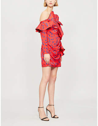 Self-Portrait Printed ruffle satin mini dress