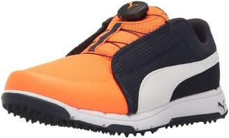 Puma Unisex-Kids Grip Sport JR. Disc Golf Shoe, Peacoat White-Orange Clown Fish