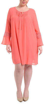 Asstd National Brand NY Collection Bell Sleeve Peasant Dress with Crochet Trim - Plus