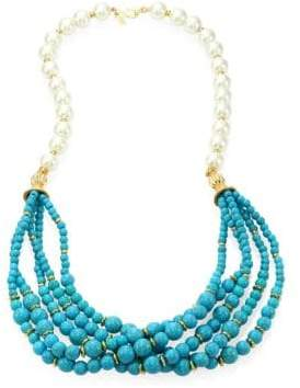 Kenneth Jay Lane Faux Pearl& Turquoise Multi-Strand Necklace