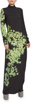 Dries Van Noten Maple-Leaf Turtleneck Gown