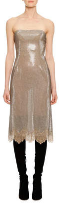 Ermanno Scervino Strapless Sequin Lace Cocktail Dress