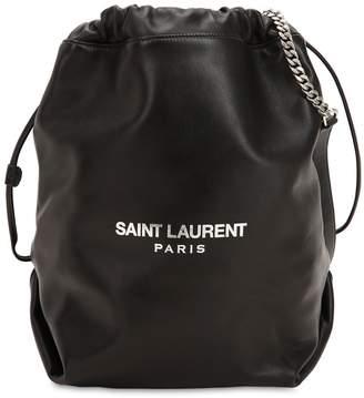 Saint Laurent Logo Printed Leather Bucket Bag