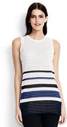 Lands' End Women's Sleeveless Stripe Tunic Sweater-White Dahlia Multi Stripe