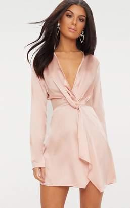 7c7a027bc PrettyLittleThing Tangerine Satin Long Sleeve Wrap Dress
