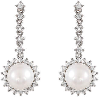Honora LEGACY Legacy White Cubic Zirconia Cultured Freshwater Pearl Sterling Silver Drop Earrings