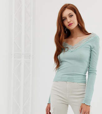 Stradivarius lace top in aqua