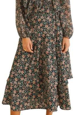 MANGO Floral-Print A-Line Midi Dress