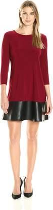 Tiana B Women's 3/4 Sleeve Pleather Hem Knit Dress