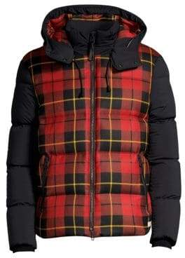 Mackage Men's Mixed Media Plaid Down Puffer Jacket - Red - Size 38