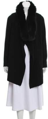 Vince Fur-Trimmed Wool-Blend Cardigan