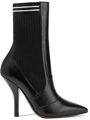 Fendi Rockoko Leather And Ribbed Stretch-knit Sock Boots - Black