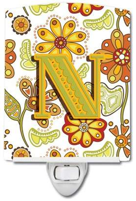 N. Caroline's Treasures Letter Floral Mustard and Green Ceramic Night Light