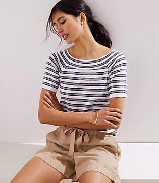 LOFT Petite Striped Boatneck Short Sleeve Sweater