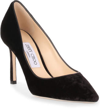 Jimmy Choo Romy 85 black crushed velvet pump