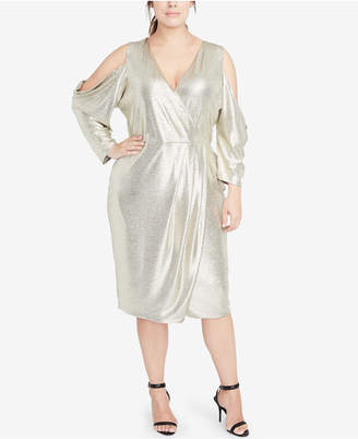 275348106edf Rachel Roy Plus Size Cold-Shoulder Metallic Wrap Dress