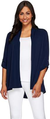 Susan Graver Liquid Knit Cardigan with Novelty Button Back Detail