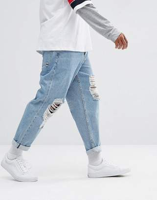 Asos Skater Jeans In Vintage Light Wash Blue With Busted Knee Rips