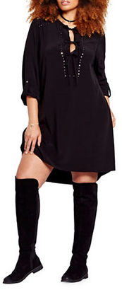 Addition Elle Love And Legend Solid Lace-up Shirtdress $98 thestylecure.com