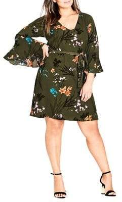 City Chic Plus Jungle Floral Dress