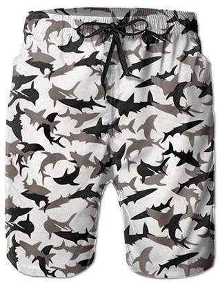 80ca27fe361 Trunks ZMvise Shark Camo Swim Quick Dry Beach Board Home Water Sports Men's  Shorts