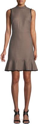 Rebecca Taylor Sleeveless High-Neck Houndstooth Short Dress