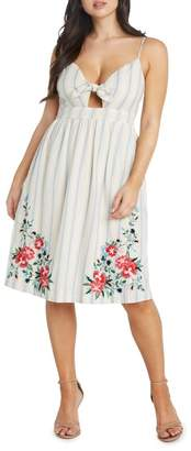 Willow & Clay Embroidered Peek-a-Boo Midi Dress