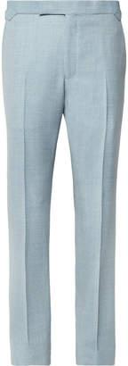 Richard James Sky-Blue Hyde Slim-Fit Mélange Wool-Hopsack Suit Trousers