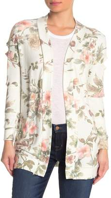 Chaser Floral Print Cutout Sleeve Cardigan