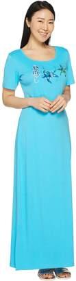 Factory Quacker Petite Embroidered Short Sleeve Knit Maxi Dress