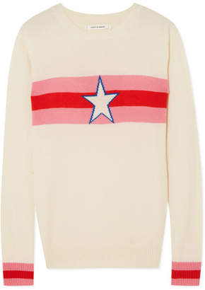 Chinti and Parker Star Crossed Intarsia Cashmere Sweater - Cream