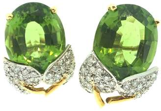18K Yellow Gold with Peridot & Diamond Leaf Earrings