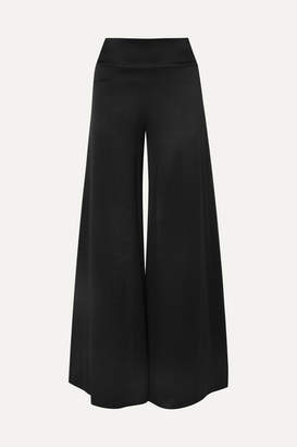 Alice + Olivia Iyanna Stretch-satin Wide-leg Pants - Black