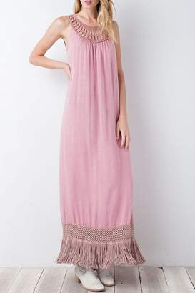 Easel Antique-Rose Crinkly-Crepe Maxi