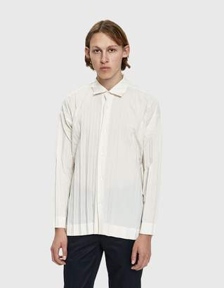 Issey Miyake Homme Plissé Edge Button Up Shirt in Ivory
